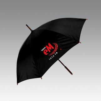 Parasol czarny z logo radia eM